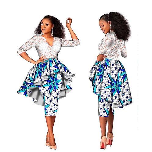 Robes en dentelle africaine pour femmes dentelle + tissu ankara evec doublure
