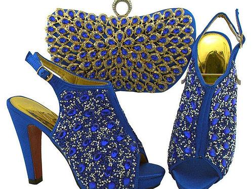 africaines ensemble sacs décorés strass pierre et chaussures assortis mariage