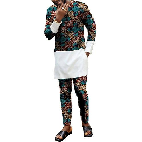 hommes imprimé ensemble Richic patchwork chemise avec pantalon Ankara HHY