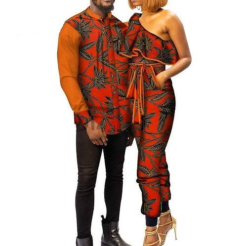 africains Couples femmes Slash cou blanc dentelle  hommes chemise longue