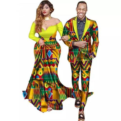 ensemble couple 3pieces de mariage robe dame sir et homme veste + pantalon
