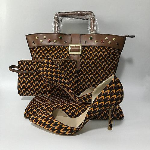 pièces/ensemble ankara cire sac ,pochette , chaussure et 6m wax