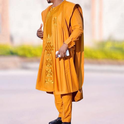 hommes vêtements Agbada tenue caftan porter 3 pièces ensemble
