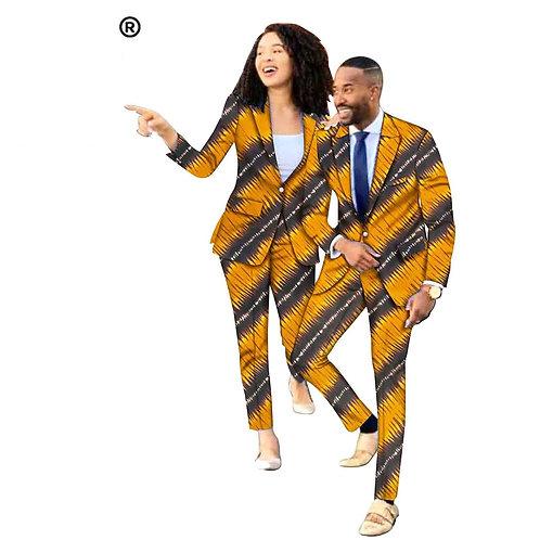 Couple Dashiki imprimé veste avec pantalon costume coupe ajustée ensemble cire