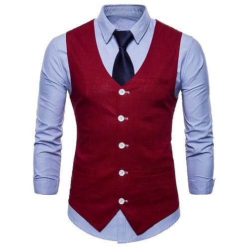 Hommes décontracté  coton lin costume Gilet 2020 printemps