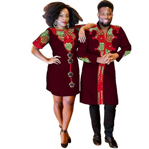 Couples 2 piece  Africain  dashiki  Bazin ref02