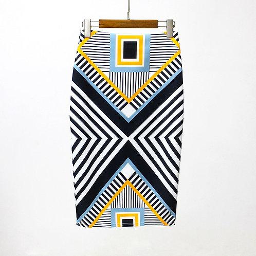 Femmes jupe Imprimer Couleur Crayon Base De Cru