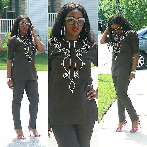 femme riche broderie conception Dashiki chemise pantalon ensemble outfit