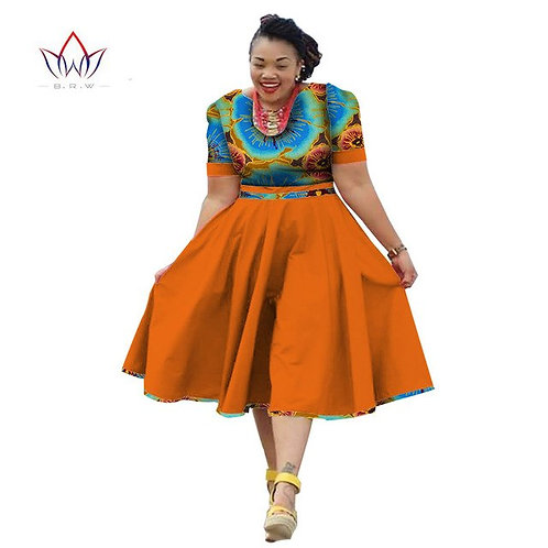 femmes africain coton imprimé robe à manches courtes WY7
