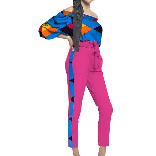 Femmes africaines vêtements 2 pièces haut + pantalon demi imprimer ref03