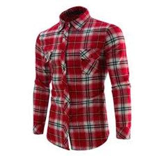 Chemise en flanelle à carreaux à carreaux à manches longues