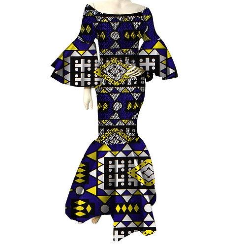 femmes imprimer robe volant manche longues robes Vestidos  Riche africain Ankara
