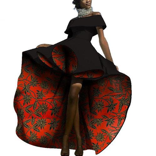 Sexy robes africaine dame mode imprimé Slash cou mariage soirée WY