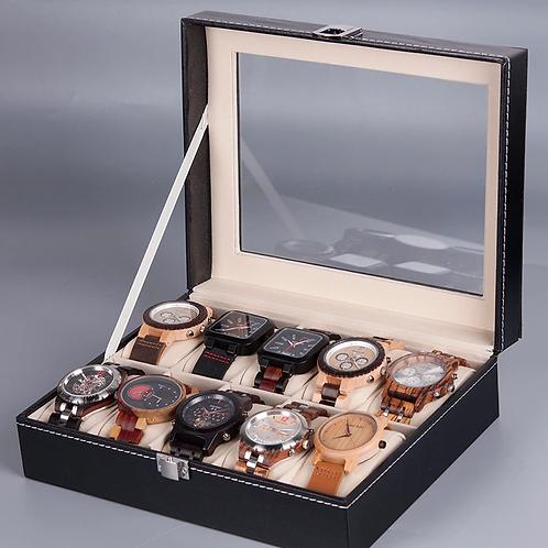 cuir  et verre Top boîte de rangement de montre  6.10 grille