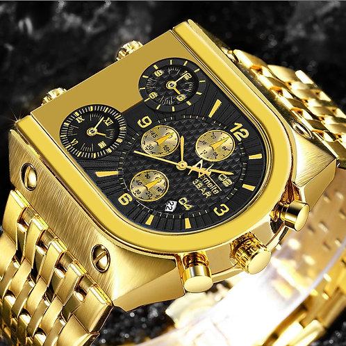 Quartz hommes montres marque supérieure luxe horloge dorée 3 fuseau horaire Date
