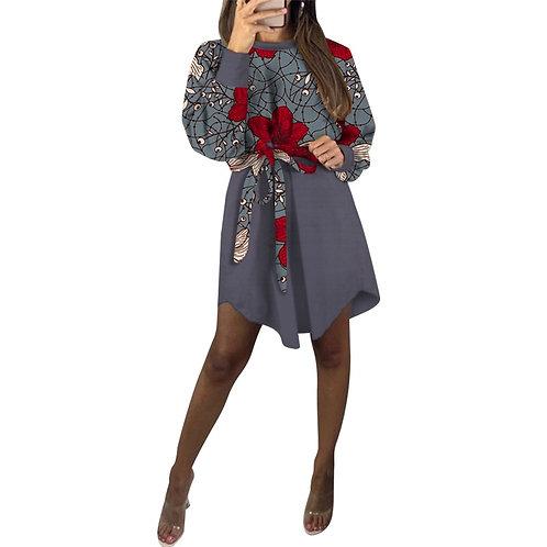 Robe dame vêtements avec ceinture à nouer 100% coton  modèles Patchwork