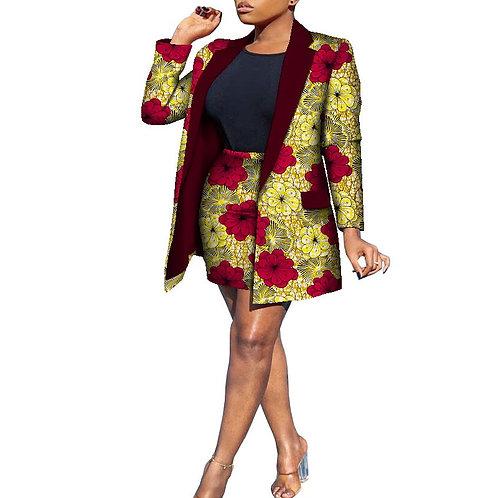 femmes ensembles 2 pièces jupe + Long Type manteau vêtements africains stylé