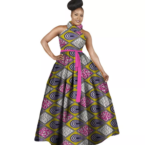 robes d'impression africaine grande taille sans manches robe licou dames