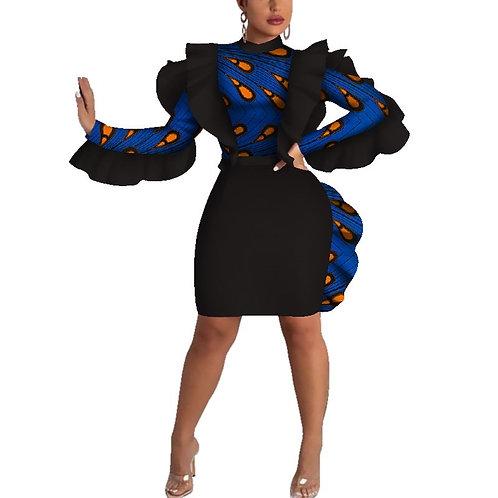 robe sexy femmes mode o-cou genou longueur Vestidos Dashiki