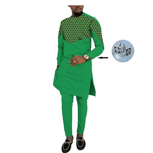 Hommes 2 Pièces Pantalons Ensembles Conception Africaine Vêtements decontracté