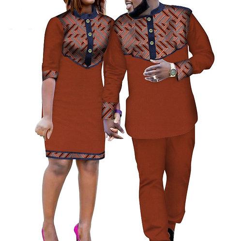 Couple Ensemble coton matériel dashiki africain bazin ref0C1