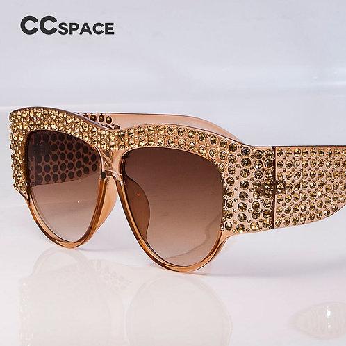 Lunettes de soleil carrées de luxe femmes surdimensionnées strass cadre Bling D