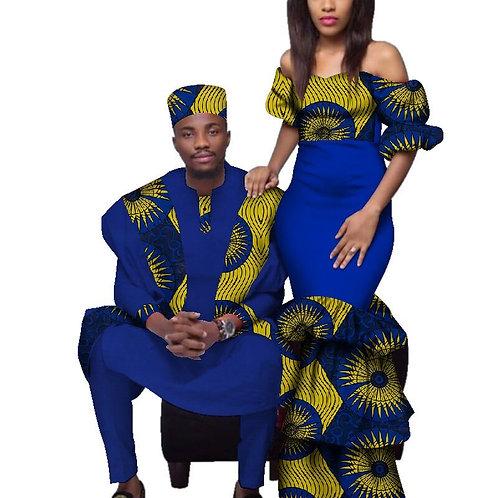 Couple africain vêtements robes  Imprimé et homme agbada