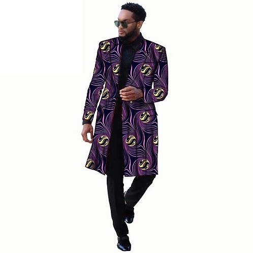 Homme veste manteaux longue Outwear deux boutons grande taille