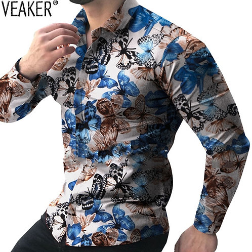 Homme Slim Fit Floral Shirts Male Printed Shirt Spring Autumn Casual
