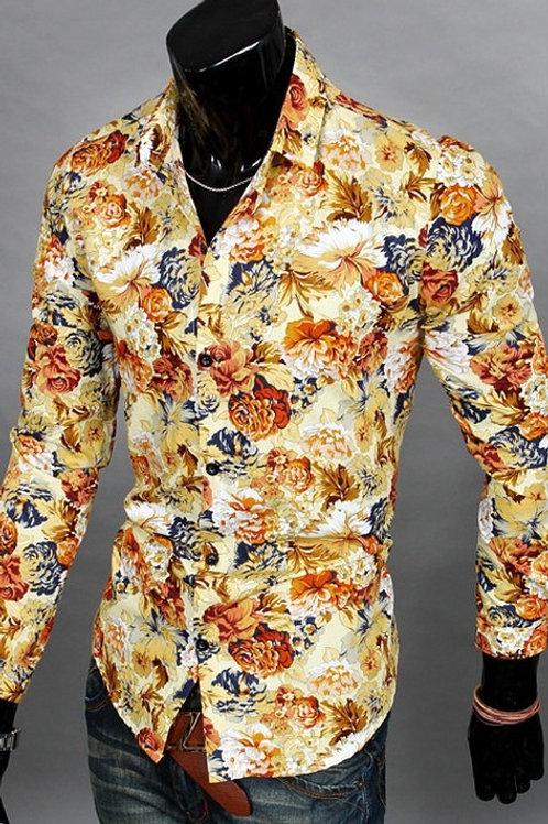 Hommes Manches Longues Chemises Floral Prints Unique