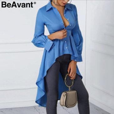 Sexy boutons longue blouse chemise femmes col de couverture bleu