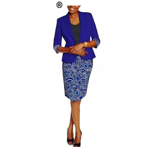 ensemble africain dame costume privé personnalisé et jupe en wax