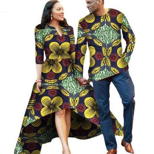 ensemble couple homme et femme dashiki robe long cole V +chemise homme ( V )