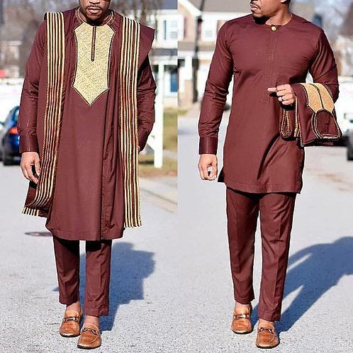 africain Agbada costume pour hommes brodées Dashiki  chemise pantalon 3 pieces