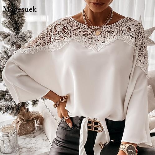 Chemisiers en dentelle brodée au Crochet pour femmes, chemises blanches Sexy