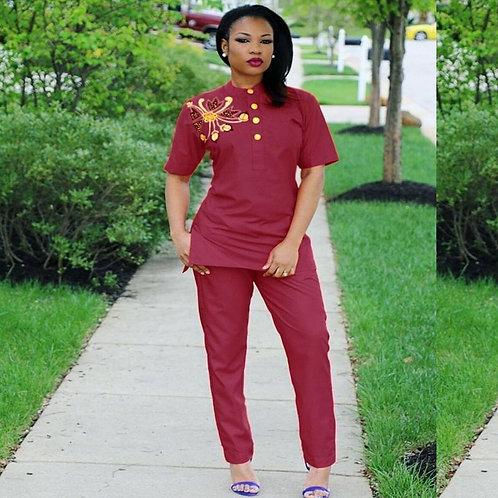 africaine femmes ensemble hauts chemise + pantalon outfit deux 2 pièces