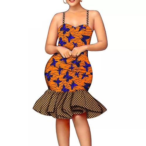 femmes sexy robe d'été décontracté sans manches spaghetti sangle genou imprimé