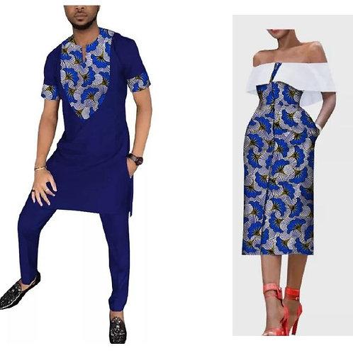 ensemble couple bleu dashiki et robe manche bande elégant