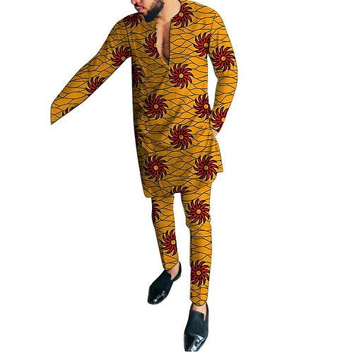 hommes africain col en v chemises avec pantalon sur mesure dashiki