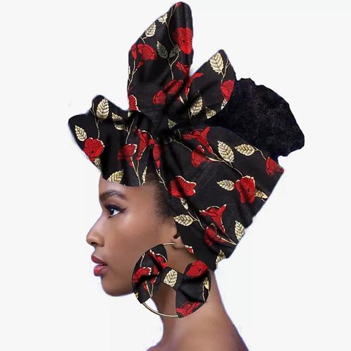 Foulard africain cire imprimé bandeau femmes +Boucle imprimé