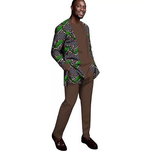 homme Costume Imprimé Ankara top à motif flor Dashiki et Pantalon 2 Pièces Tenue