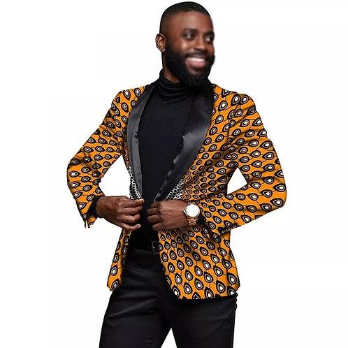 hommes Blazer africain imprimé veste manteaux un bouton coupe ajustée