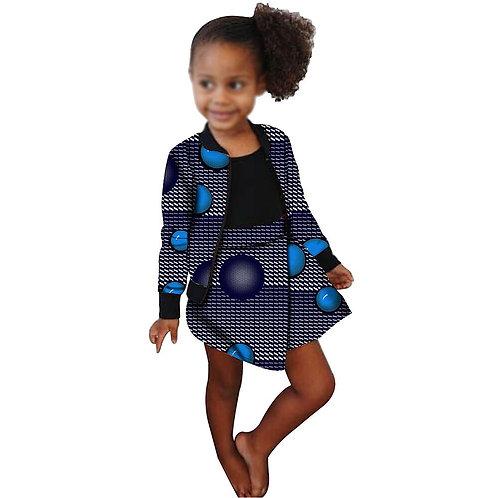 fille africaine cire Dashiki Ankara enfants veste et jupes 2 pièce