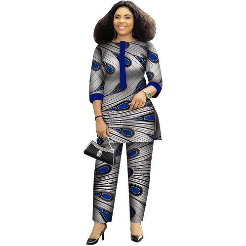 femmes imprimer Wax  2 pièce de haut et pantalon ensembles