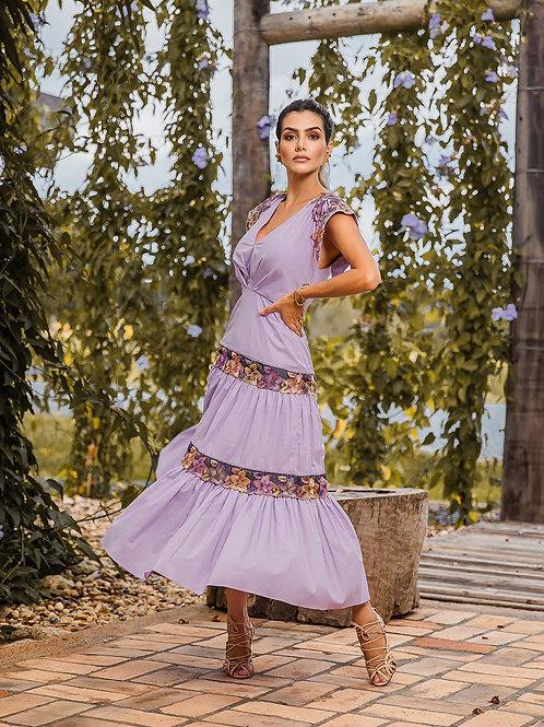 Vestido Marrô Saia Franzida