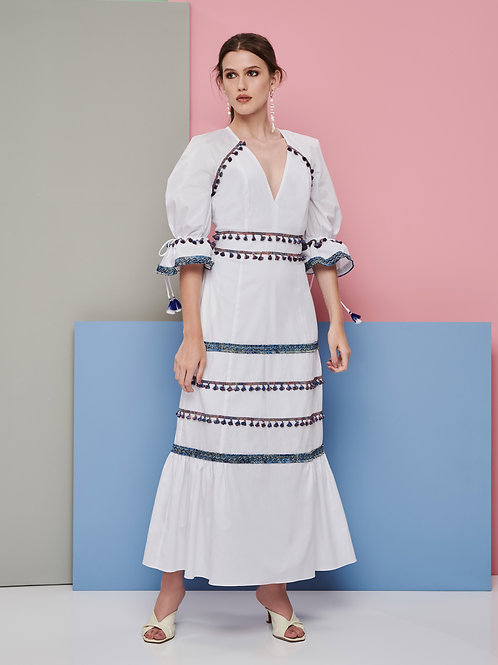 Vestido Marrô Midi Branco