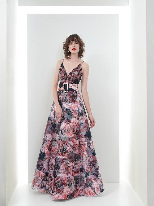 Vestido Marrô Amplo Zibeline e Organza