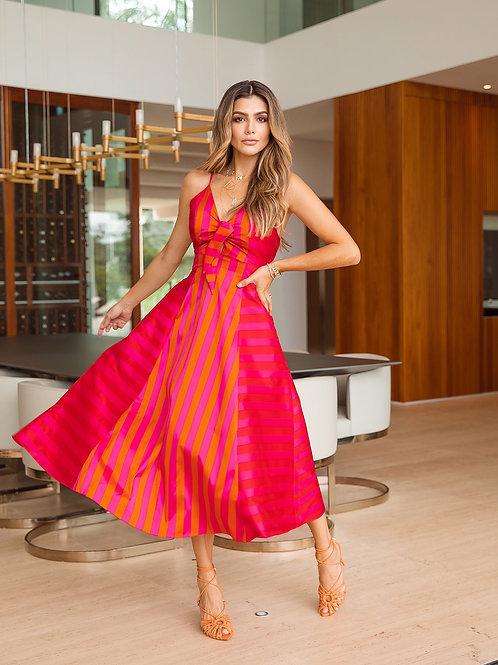 Vestido Marrô Amarração Listras Vermelho