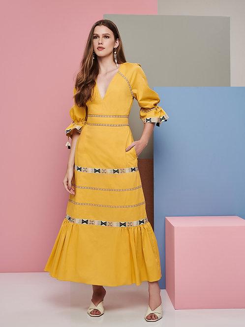 Vestido Marrô Midi Amarelo