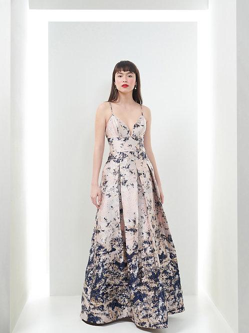 Vestido Marrô Saia de Pregas Jacquard
